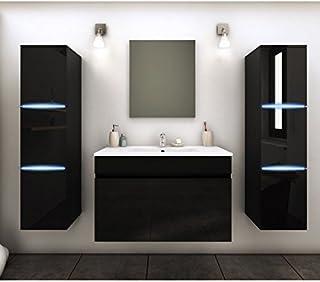 Générique Meuble De Salle De Bain Simple Vasque 80 Cm + 2 Colonnes Avec LED  Noir