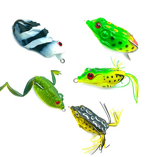 LENPABY 5pcs Topwater Frog Lures, Soft Fishing Lure Kit with Tackle Box for Bass Pike Snakehead Dogfish Musky