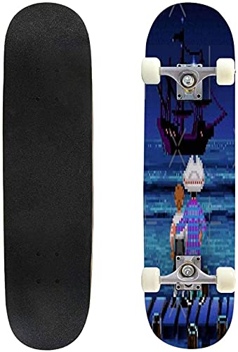 MQJ Skateboard Keep Calm and Call Finnick Hunger Games Inspired Autumn Extreme Sports and Outdoors 31 Complete Skate for Kids Teens&Amp;Amp Adults 8 Layer Maple Double Kick Deck Concave,#9