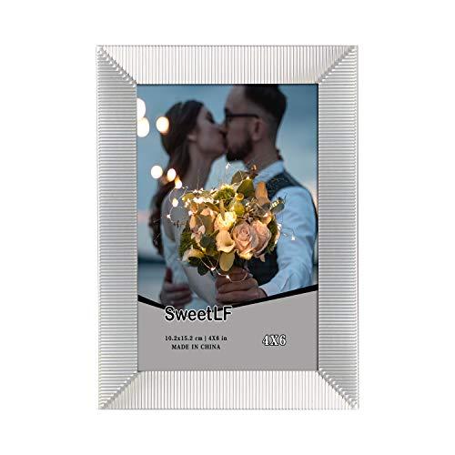 Preisvergleich Produktbild SWEETLF UK 12, 7 x 17, 8 cm Bilderrahmen aus galvanisiertem Silber und hochauflösendem Glas für Tischplatte und Wandmontage Fotorahmen,  Silber,  K61246