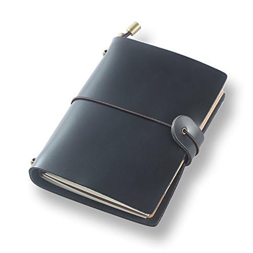 ScrodCat Classic Echtes Leder Notebook 13,5 cm x 11 cmRefillable Seiten Leder Journal 100% Handarbeit & Personalized - Vintage Tagebuch - Täglicher Gebrauch & Traveler Notebook (schwarz) (Black C, S)