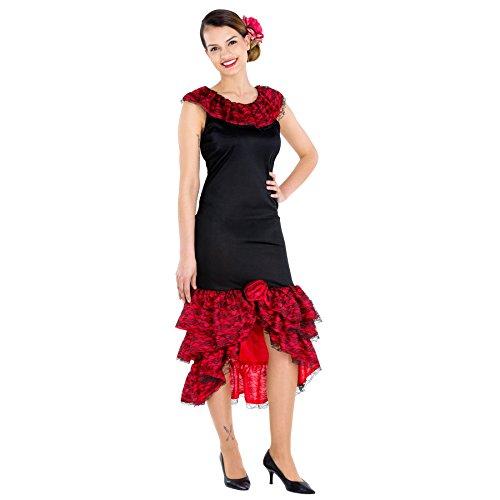 TecTake dressforfun Frauenkostüm heiße Spanierin | Kleid & Bindegürtel | Flamenco Tänzerin Verkleidung (XXL | Nr. 300635)