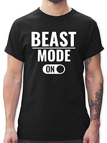 Fitness & Workout - Beast Mode ON - XL - Schwarz - Spruch - L190 - Tshirt Herren und Männer T-Shirts