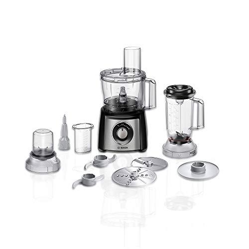 Bosch MCM3501M Kompakt-Küchenmaschine Multitalent 3, 800 W, 2 Arbeitsstufen und Momentstufe, 2,3 L Schüssel transparent, Mixer, weiteres Zubehör, schwarz/Edelstahl