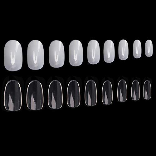 Noverlife 1200PCS Runde Acrylnägel Künstliche Nägel Tips, 10 Größen, Full Cover Short Oval falsche Nägel Art künstliche Fingernägel Maniküre Fingernägel für Nail Salon Design Praxis