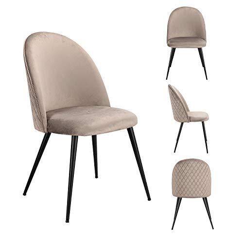 MeillAcc Un conjunto de dos sillas de comedor, bolsa de terciopelo suave, patas de hierro de grano de madera, muy adecuado para cocina, comedor, sala de estar, salón (gris, 2)