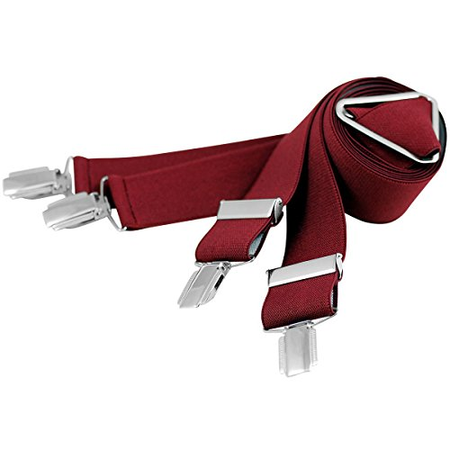 Lindenmann Mens Braces/Suspenders/mens suspenders, X-shape, 30 mm stetch, XXL, bordeaux, 9157-061, Größe/Size:110