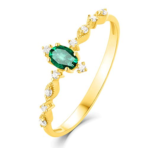 Aimsie Women's Ring Emerald Tiny Band Oval Cut Wedding Rings Rose Gold 18 Carat (750) Yellow Gold Ring 18 Carat Wedding Rings 750 Yellow Gold Green Green