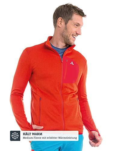 Schöffel Herren Fleece Jacket Savoyen2 warme und bequeme Fleecejacke für Männer, atmungsaktive und geruchshemmende Herrenjacke mit praktischen Taschen, Rot (Fiery red), 54