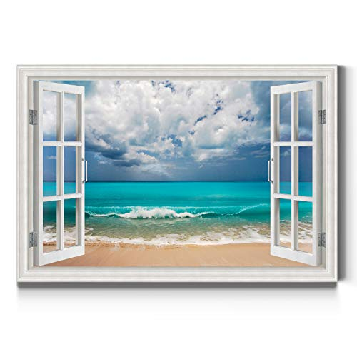 Renditions Gallery Crystal Blue Water Open Window Wall Art, Beautiful Beach Artwork, Bright & Colorful, Premium Gallery Wrapped Canvas Decor, Ready to Hang, 24 in H x 36 in W, Made in America Print