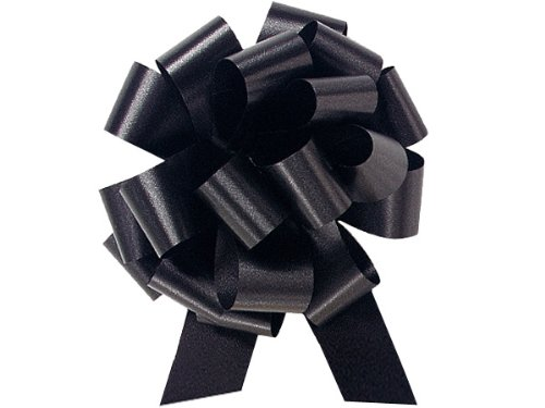 Black 5.5 Inch Pull Bows 20 Loop 10 Pack Gift Wrap Christmas Wedding Gift Wrap Pull Bows Pull String Bows by A1 Bakery Supplies