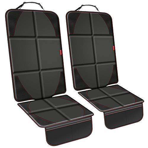 YOOFAN Autositzschutz - 2er Pack Autositzschutz für Kindersitze, rutschfester Stoffsitzschutz unter dem Autositz, Autositzbezug mit weichem und verdicktem Polster, 2 Aufbewahrungstaschen