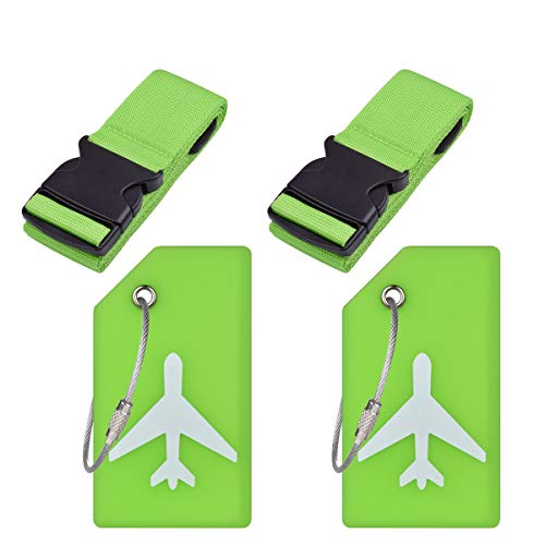 2Sets Travel Luggage Accessories-Luggage Straps and Luggage Tags-Green