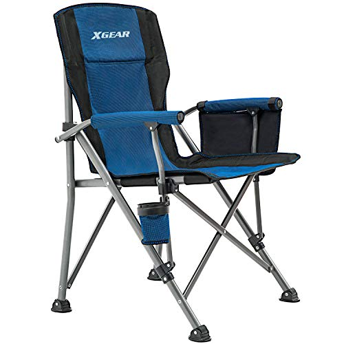 XGEAR Portable Folding Camping Chair High Back Cup Holder Hard Armrest Storage Pockets Carry Bag Included, Support 300 lbs (Blue)