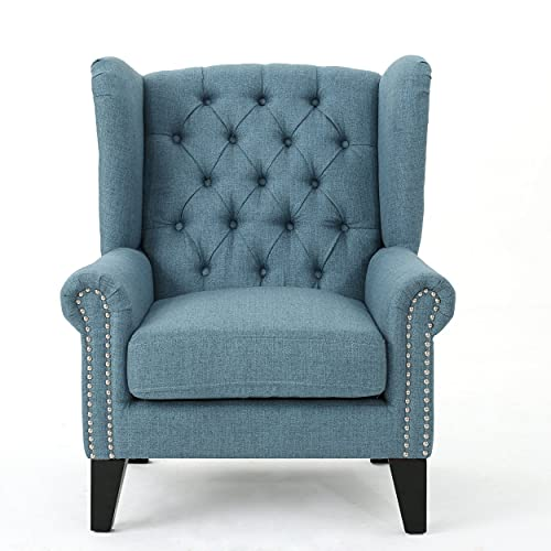 Christopher Knight Home Laird Traditional Winged Fabric Accent Chair, Blue / Dark Brown
