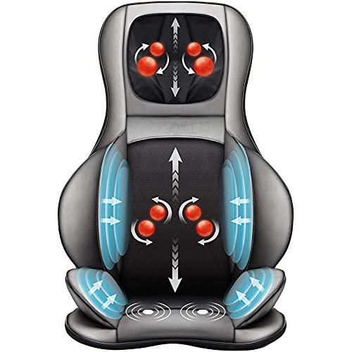 XinMuZheng Masajeador de espalda de cuello con cojín de masaje Shiatsu, compresión de aire portátil y rodamiento, masajeador de silla amasado es adecuado