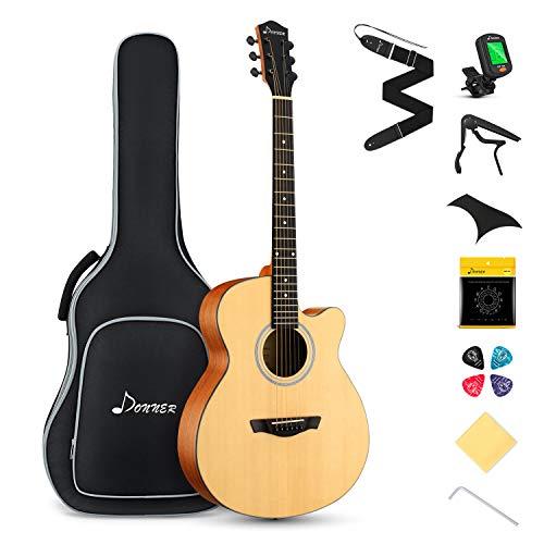 Donner Gitarre Akustik Anfänger Akustikgitarre 4/4 Set Jumbo Cutaway Gitarren Erwachsene mit Tasche Capo Plektren Gurt Stahlsaiten(Natur)