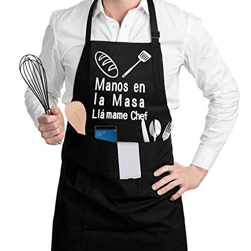 SSAWcasa Delantal de Cocina con 3 Bolsillos Ajustable Delantales Antiincrustante Regalos para...