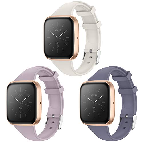KIMILAR Armband Kompatibel mit Fitbit Versa/Versa 2 /Versa Lite/SE Armbänder Silikon, Schlank Ersatzband Uhrenarmband für Versa Special Edition Smartwatch -Blaugrau/Lila Grau/Off-White, S