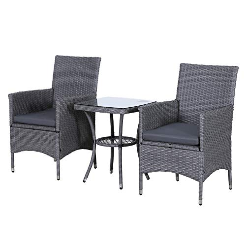 Outsunny Garden Outdoor Rattan Furniture Bistro Set 3 PCs Patio Weave Companion Chair Table Set Conservatory (Grey)
