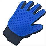 Hound & Yard Professional Pet Dog Cat Animal Grooming Gloves Groomers Deshedding Glove Hair Remover Brush Removal Tool with Soft Silicone Tips Single or Pair (Blue Right Hand)