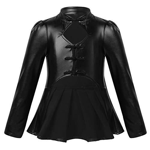 JEATHA Kinder Mädchen Langarm Shirts Ledershirts Stehkragen Bluse Chinesischen Stil...