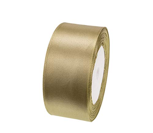 ATRBB 25 Yards 1-1/2 inch Wide Satin Ribbon Perfect for Wedding,Handmade Bows and Gift Wrapping(Old Gold)