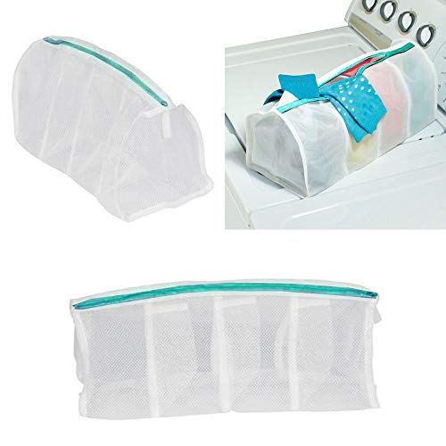 2 X Laundry Mesh Wash Bags 4 Compartment Net Delicate Bra Panties Lingerie Socks