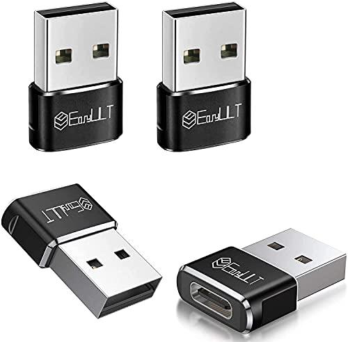 EasyULT Adaptador USB C Hembra a USB Macho (4 Pack), Adaptador de Cable Tipo C a USB A, para Huawei, Samsung, Computadoras Portátiles, Bancos de Energía y Otros Dispositivos con USB C(Negro)