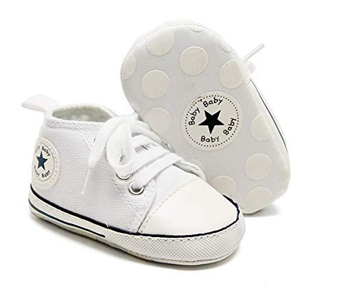 Vanornia Primeros Pasos para Bebés Niños Unisex Pequeños Zapatillas de Lona Cuello Alto Suela Auave Antideslizante Casual Lindo 0-18 Meses (Blanco, 6-12 meses)