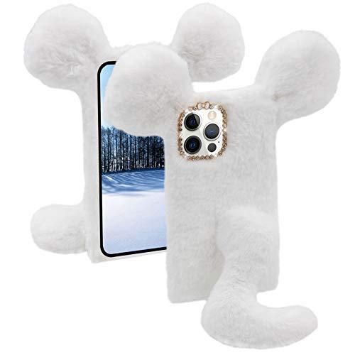 Plüsch Maus Hülle für Xiaomi Mi 10T Pro [mit HD Schutzfolie] MOIKY Niedlich Faux Pelz Ratte Winter Warm Weich Flauschige Handyhülle Stoßfest Schutzhülle für Xiaomi Mi 10T Pro 5G,Weiß