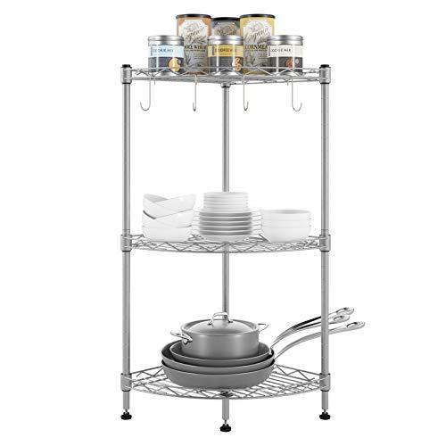 Homfa Estantería Esquinera con 3 Niveles para Cocina Baño Baldas de Cocina para Rincones Organizador de Estante de Pie de Metal 40x29x70 cm