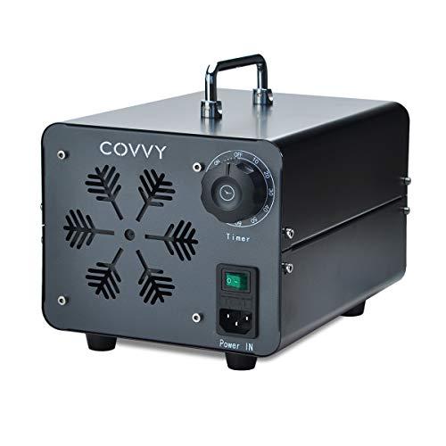 COVVY Generador de ozono comercial, máquina móvil industrial del ozono O3 purificador de aire ambientador esterilizador para la eliminación de olores,para casa,oficina,hotel,coche(negro,15000 mg)