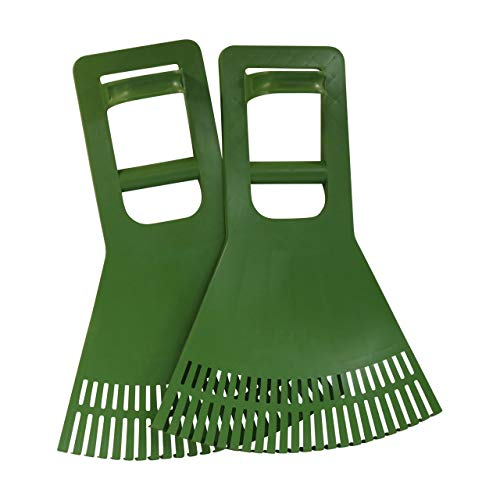 Premium Quality Leaf Claw Pick-Up Scoops With Extended Grip | Garden Grabber Tool for Grass, Lawn Clippings, Twigs or Debris | Set of 2 Back Saving Clean-Up Hand Rakes | Made in USA | Model P920