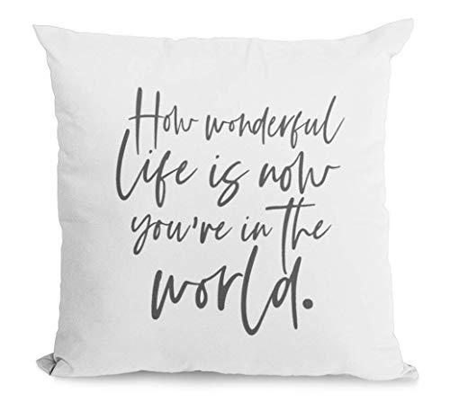 Almohada de granja con la frase How Wonderful Life is Now You're in The World para decoración del hogar (avena,