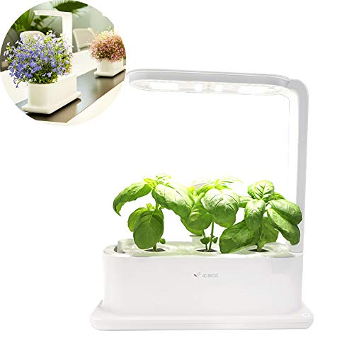 CRZJ Sistema de Cultivo hidropónico, Herb Garden Kit Indoor, Grow Smart for Plant, Operación con un Clic,Blanco