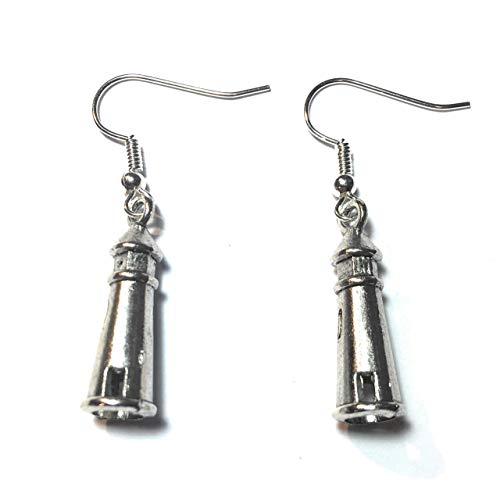 Regalos FizzyButton antiguo tono de plata pendientes de gota Faro 3D con los alambres del oído de plata chapada en turquesa caja de regalo