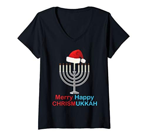 Womens Funny Christmas Hanukkah Santa Hat Menorah Gift V-Neck T-Shirt