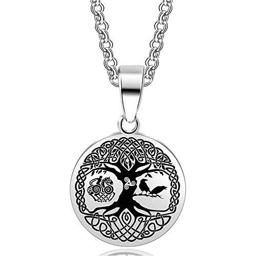 BlackAmazement Colgante de acero inoxidable 316L, árbol de la vida, árbol del mundo, trisquel, cuervo Yggdrasil Germanen, vikingo, plata, negro, hombre y mujer