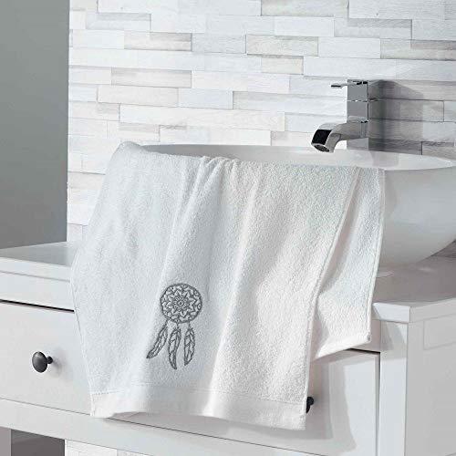 douceur d'intérieur 2 gants de toilette 16x21 cm eponge brodee talisman blanc