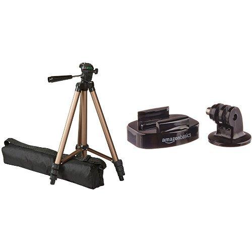 AmazonBasics - Treppiedi leggero da 127 cm con supporto per fotocamera GoPro