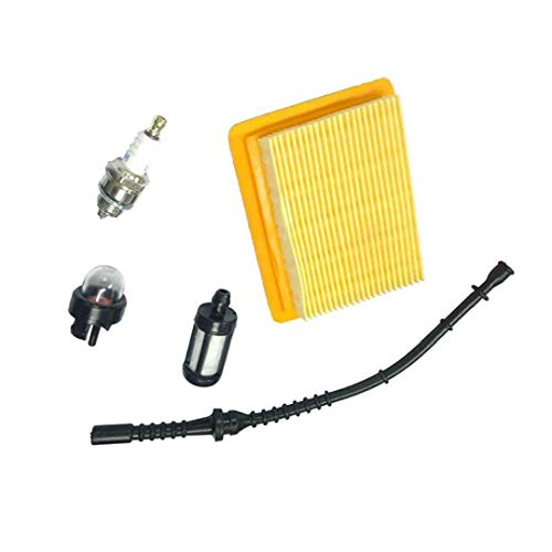 Filtro de aire Tubería de combustible Bombeador Compatible con Stihl Fs120 FS200 FS300 FS400 350 Cadena Fs450 Segadora de hierba Segadora
