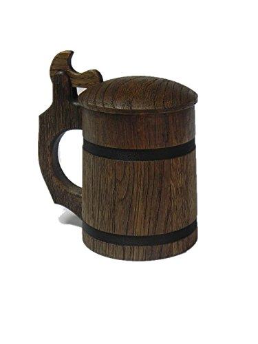 Wooden World Tazza di Birra in Legno di Quercia, Boccale con Coperchio, Molto Solido, Festa di papà, Natale, Regalo, 0.65L /M13