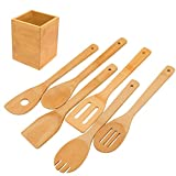 Kitchen Cooking Utensils Set - 6 Pieces Bamboo Wooden Spoons & Spatulas and 1 Holder as House Warming Presents, Heat Resistant for Non Stick Cookware