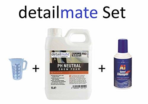 Kit ValetPRO Ph Neutral Snow Foam 1 litre + verre doseur detailmate 50 ml + shampoing rapide A1 Dr. Wack 500 ml pour lavage de voiture