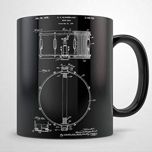 Schlagzeug-Tasse mit Schlagzeug-Motiv, Geschenkidee für Männer, Schlagzeuger, Geschenk für Frauen, Geschenk für Schlagzeuglehrer, Schlagzeuger, Patent-Kaffeetasse, 325 ml, Keramik