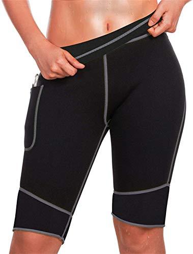 Pantalones deportivos con efecto sauna para mujer, entrenamiento de neopreno de cintura alta, adelgazamiento, sudor térmico, bolsillo de secado rápido, control abdominal ( Color : Black , Size : XXL )