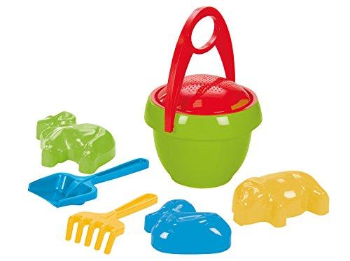 Lena 5320 Happy, 7 Teile, Sand und Wasser Spielset für Kinder ab 2 Jahre, mit Sandeimer, Sieb, 3 Sandförmchen, Sandschaufel und Rechen aus Kunststoff, Sandspielzeug Eimergarnitur, Mehrfarbig