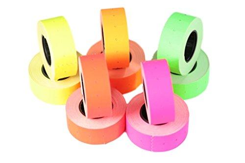 (10 rollos) Mezclar 21 x 12 mm Papel de colores Adhesivo Precio Pistola Etiquetas de marcador de precio MX-5500
