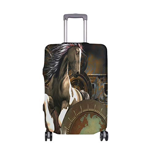HYLH Copri Valigia Steampunk Fantastico Cavallo con Orologi Copri-Valigia Super Leggero per 18-32 Pollici